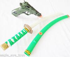 Toy Samurai Green Ninja Katana Sword & Camo 9MM Pistol Toy Cap Gun Set