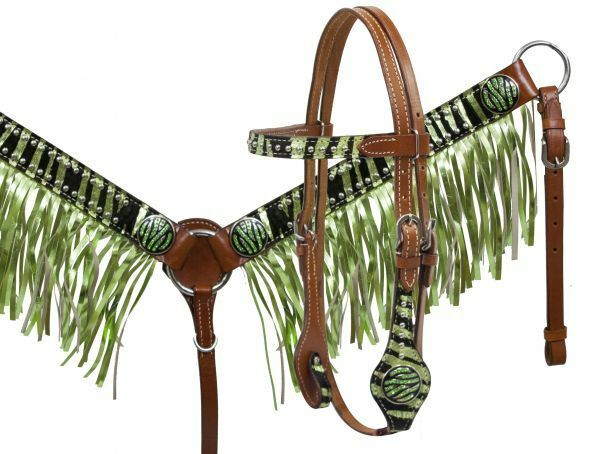 Metallic Lime Zebra Print Hair on Cowhide PONY Headstall Breast Collar Set