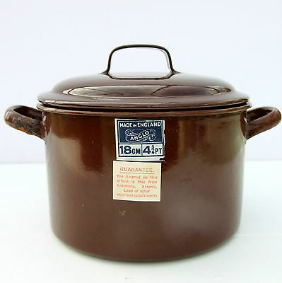 Vintage 1930s 1940s Anglo Enamelware Ltd Brown Enamel Casserole Pan 4.75 Pint
