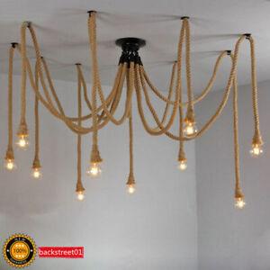 Details About Hemp Rope Drop Chandelier Adjustable Diy Ceiling Lamp Net Spider Pendant Light