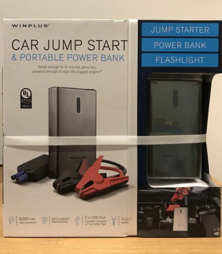 WINPLUS Portable 8000mAh Car Jump Starter Kit, Power Bank, Flashlight