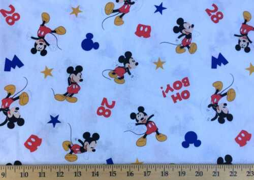 Handcrafted Valance Sewn in Mickey Mouse Oh Boy White Cotton Fabric
