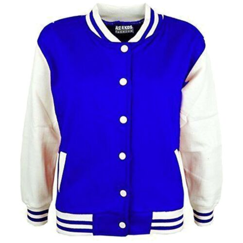Kids Boys Baseball Royal Jacket Varsity Style Plain School Jacket Top 5-13 Years