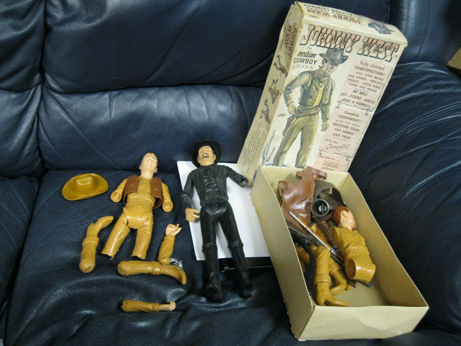 Vintage MARX JOHNNY WEST The Action Cowboy  2062 and Sam Cobra Western Figures