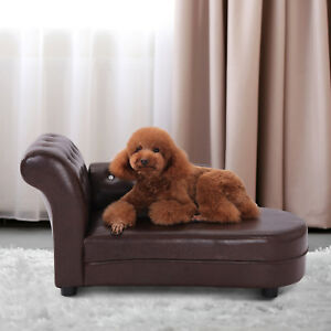 Pawhut PVC Dog Cat Puppy Kitty Couch Leather Bed Luxury Pet Sofa ...