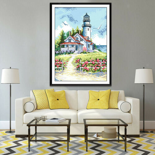 Seaside Lighthouse Stamped Cross Stitch Kit DIY Embroidery Home Decor 14CT