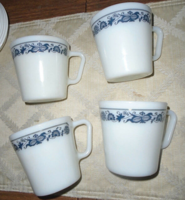 4 Pyrex Milk Gl Old Town Blue Onion 1410 Coffee Tea Cups Mugs D