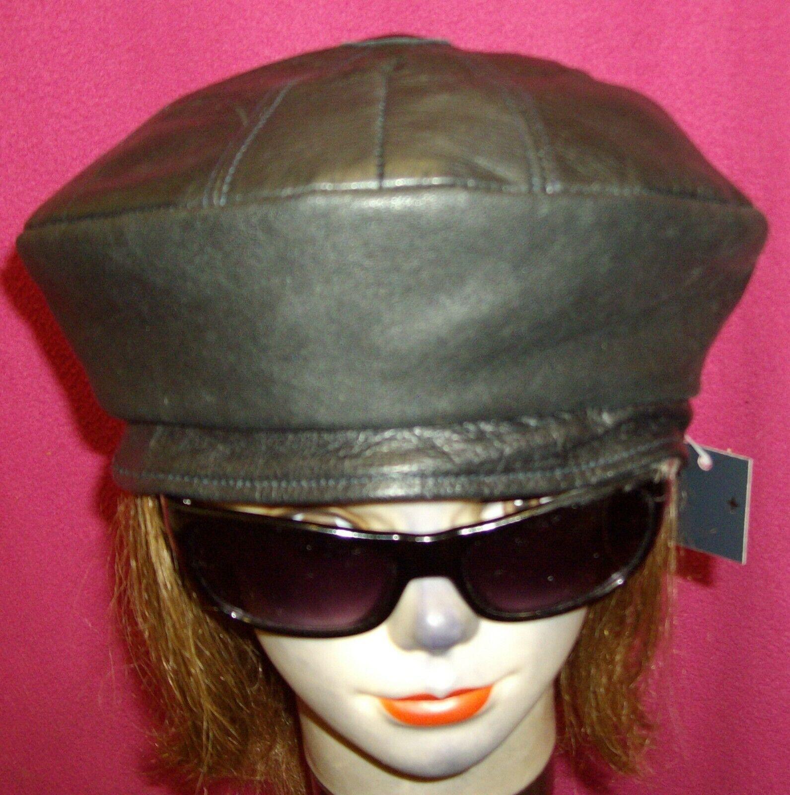 Sin marca, H hecha de cuero negro de reciclaje Boina Sombrero, tamaño 23.6/8