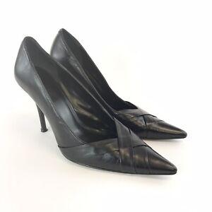 Aldo-Sz-40-UK7-Ladies-Black-Leather-Slip-On-Court-High-Heels-Pumps-Pointed-Shoes