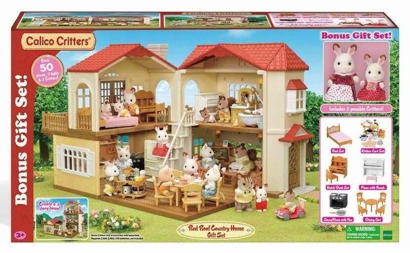 Calico Critters Red Roof Country Home Gift Set Kids Play CC1797 NEW