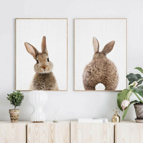 Bunny Rabbit Tail Picture Animal Wall Art Canvas Poster Baby Room Nursery Print
