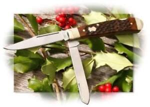 Boker-Double-Lock-Trapper-Pocket-Knife-440-Steel-Blades-Jigged-Brown-Bone-Handle