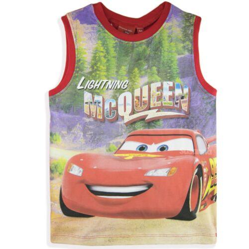 DISNEY Pixar Cars Ragazzi Personaggio Senza Maniche Canotta 100/% COTONE T-shirt 2-8 anni