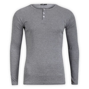 T-Shirt mens white jules long sleeve button placard crew neck top