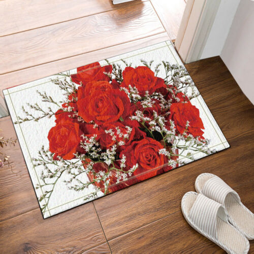 Red Rose Bouquet Flower Fantastic Bathroom Fabric Shower Curtain Set 71Inch
