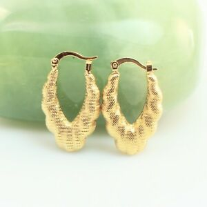 Image Is Loading 18k Gold Filled Antique Style Medium Hoop Earrings
