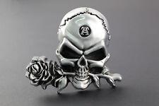 LARGE 3D SKULL & ROSE  BELT BUCKLE METAL