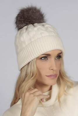 33acb7655ff Cream White pure cashmere fur pom pom cable knit beanie hat MADE IN ITALY |  eBay