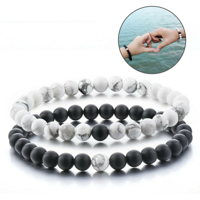 2 Pcs Long Distance Relationship Bracelets For Friends Matte Black White
