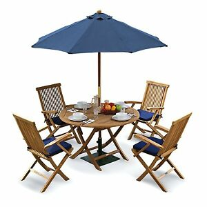 ba280e0187 Details about Tuscany Outdoor Dining Set - Teak Garden Table, Chairs,  Cushions, Parasol & Base