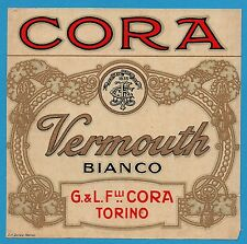 VECCHIA ETICHETTA LIQUORE VERMOUTH BIANCO CORA TORINO ANTEGUERRA  N°46