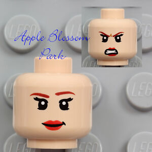 Lego City Minifig Pink Flesh Head Dual Sided Female Red Lips NEW