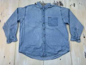 DOCKERS-Vtg-90s-Blue-Jean-Long-Sleeve-Faded-Denim-Oxford-Shirt-Mens-MEDIUM