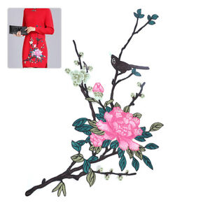 Pfingstrose-AufnAher-Stickerei-Blume-AufnAherbild-Rosa-Patch-Cheongsam-Deko-NEU