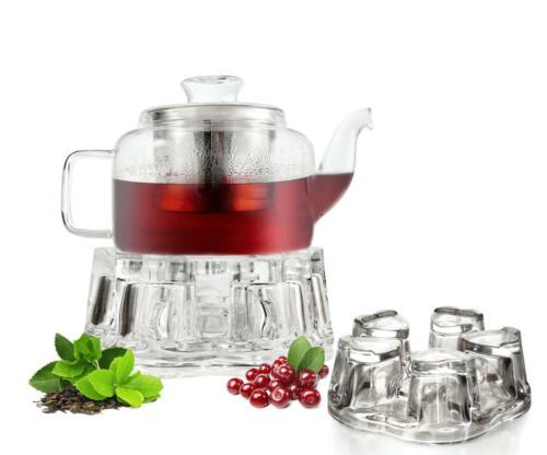 Teekanne mit Stövchen Edelstahlfilter und Deckel Teezubereiter Glaskanne Kanne
