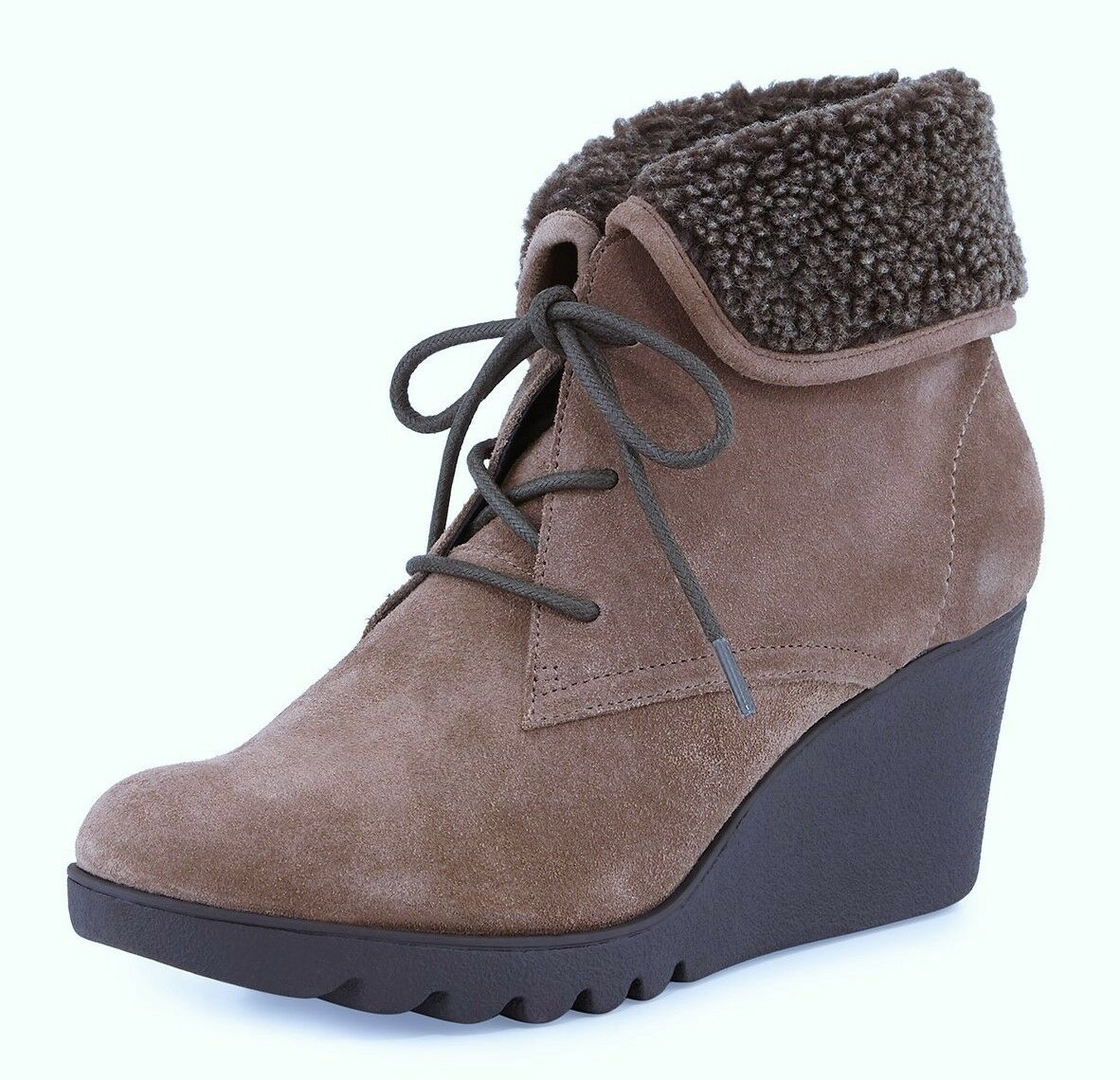 Donald J Pliner Maxxi Faux-Fur Suede Ankle Boot Bootie Taupe New 8/8.5/9 $258