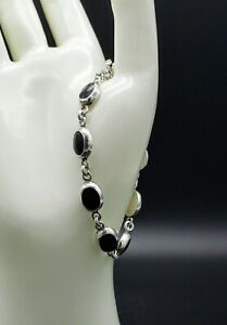 Vintage-Taxco-Black-Onyx-Bracelet-Linked
