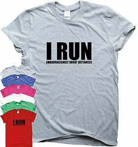 67773e44 I RUN funny running T shirts women men top slogan training her him ...