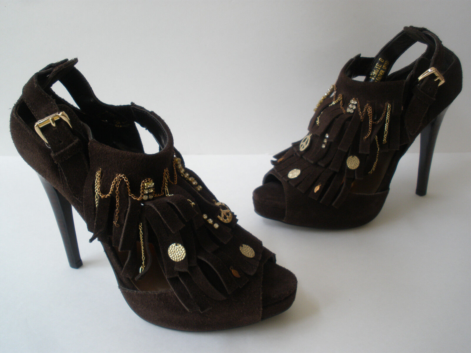 N.YL.A FERGIE BROWN HEELS LEATHER SANDAL CRYSTALS CHAIN HEELS BROWN SIZE US 8 SUPER HOT SEXY 68cf4a