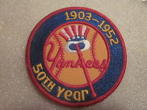 1952 New York Yankees 50th Anniversary Tophat design iron on patch 3 7/8""