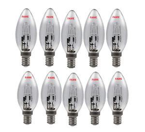 5 x 46w= 60w Candle SES E14 Small Screw Long Life Clear Halogen Light Bulb EVER