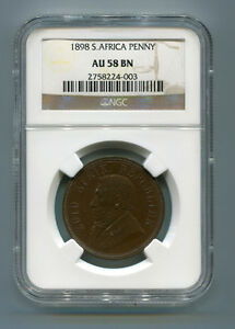 South-Africa-ZAR-NGC-Certified-1898-Kruger-Penny-AU-58-BN-Coin