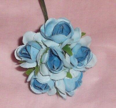 dolls WHITE millinery Vintage style 6 silk ROSE BUD fabric flower CISSY HATS