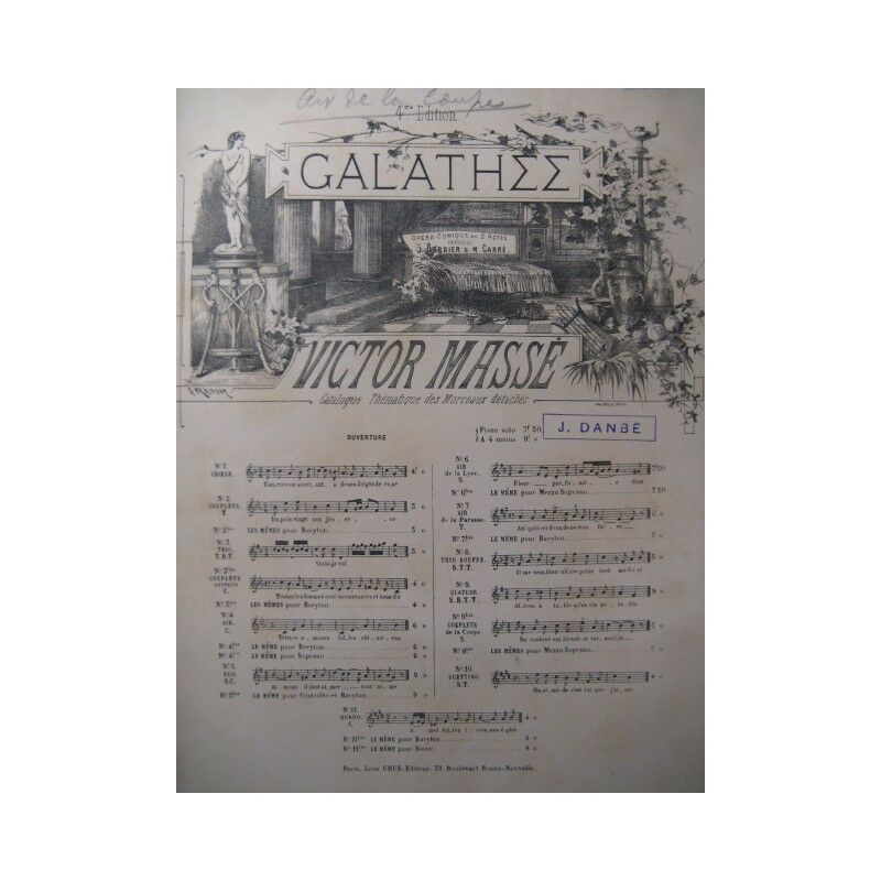 Masse Victor Ashley Air de Tasse chant Orchester ca1860 Partitur -blatt MUS