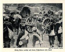 1915 Balkankrieg * König Peter verläßt auf einem Ochsenkarren sein Land *  WW1