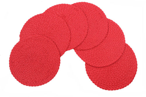 Daisy® Woven Braided Non-Slip Table Placemats 15 Inches Round Set Of 6