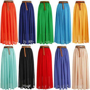 Women double layer chiffon pleated retro long maxi dress elastic waist skirt LnG