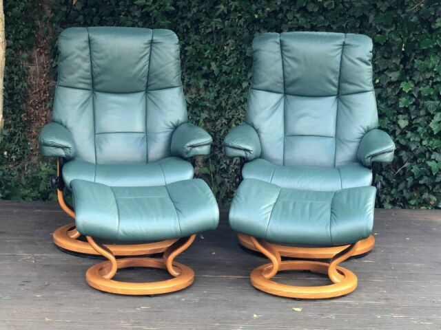 Ekornes Stressless Mayfair Leather Recliner Armchairs and Footstools Set