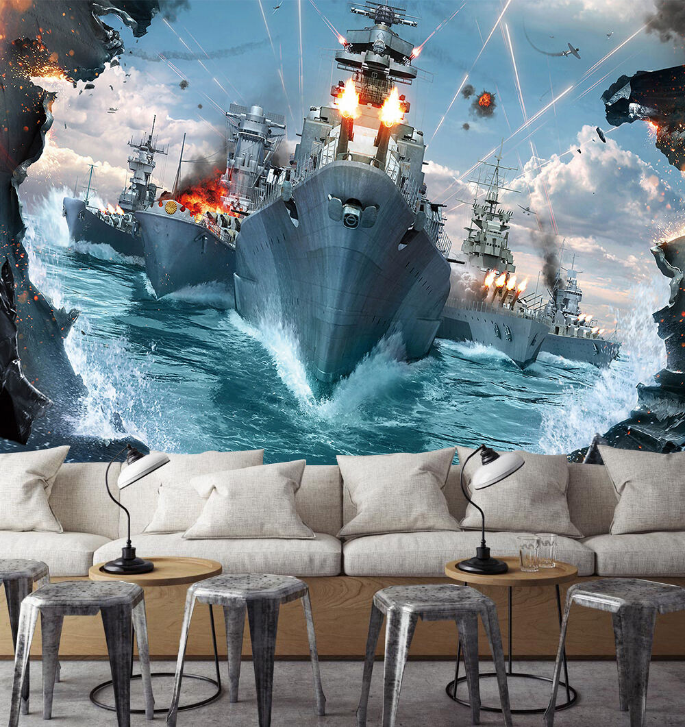 3D Sea, warships 365 Wall Paper Print Wall Decal Deco Indoor Wall Murals