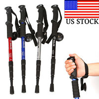 Adjustable Canes 4 Sections Anti-shock Hiking Walking Trekking Trail Poles Stick