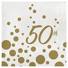 32 Lunch Napkins for 50th Anniversary Glitters in Gold Great for Party or Event  sc 1 st  eBay & Lunch Napkins 50th Anniversary Gold for Wedding Anniversary Party ...