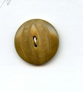 """AWESOME VEG IVORY button---DUAL GREEK KEY RIBBONS in CENTER--MEDIUM--1  1/8"""""""