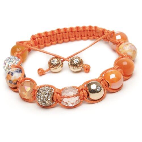 Shamballa Gemstone Bracelet Cats Eye Gold Crystal Salamander Orange