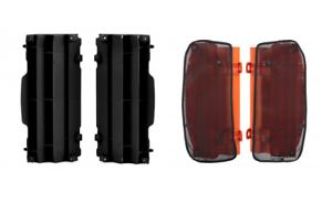 KTM SX 125 SXF XCF 250 350 450 16-18 Radiator Louvre Plastic /& Mesh Covers Black