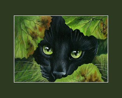 Black Cat ACEO Target Found Print By I Garmashova