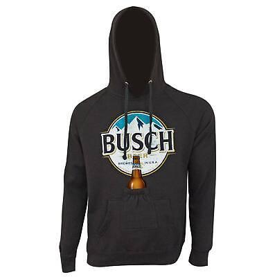 Busch Light Bottle Label Dark Bottle Opener Beer Pouch Hoodie Grey